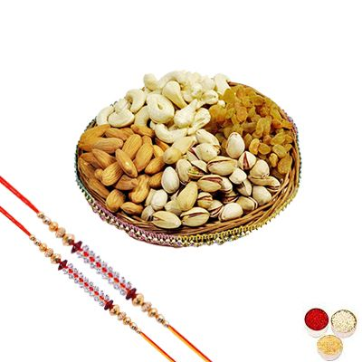 Stone Rakhi Set with Mixed Dry Fruits