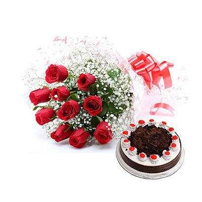 Eggless Black Forest Cake with 12 Red Roses Bouquet