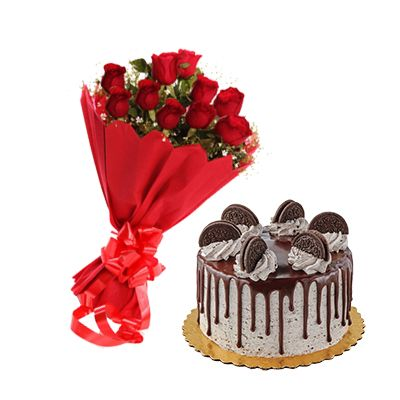 Eggless Oreo Cake with 12 Red Roses Bouquet