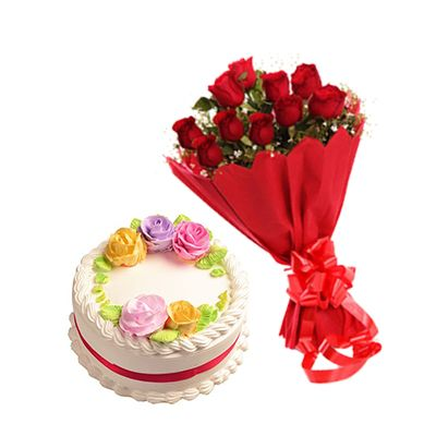 Eggless Vanilla Cake with 12 Red Roses Bouquet