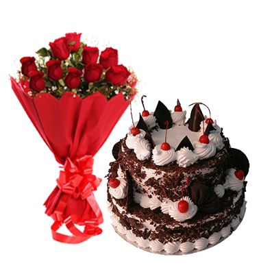 2 Tier Black Forest Cake with 12 Red Roses Bouquet