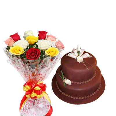 2 Tier Chocolate Cake with Mixed Roses Bouquet