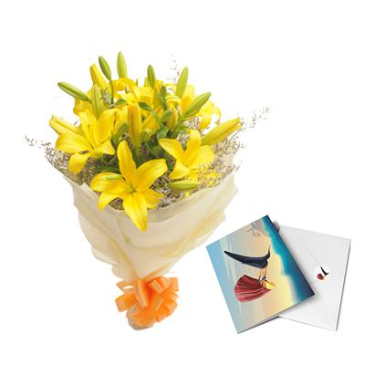 Yellow Lilly Bouquet with Greeting Card