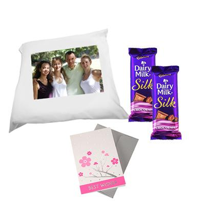 Personalized Cushion with 2 Cadbury Silk and Card