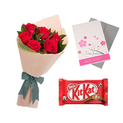 Kitkat Chocolates with Flowers and Greeting Card