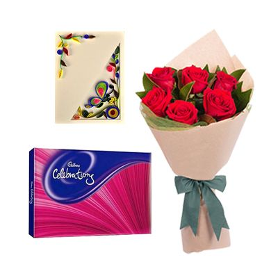 Cadbury Celebration with Flowers and Greeting Card