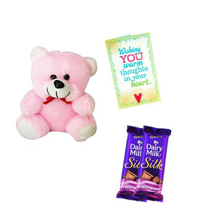 Teddy Bear with Chocolates and Greeting Card