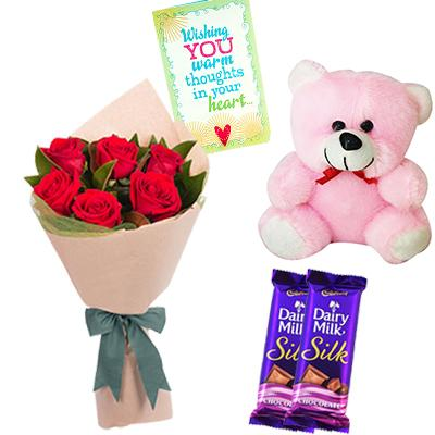 Teddy Bear, Chocolates, Flowers and Greeting Card