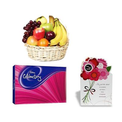 Fresh Fruits Basket with chocolates and Card