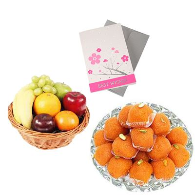 Fresh Fruits Basket with Ladoo and Card