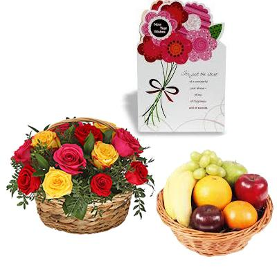Fresh Fruits Basket with Mixed Flowers Basket and Greeting Card