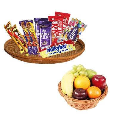 Fresh Fruits Basket with Mixed Chocolates Hamper