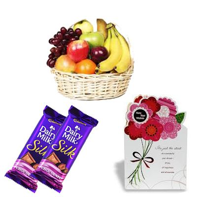 Fresh Fruits Basket with Chocolate and Card