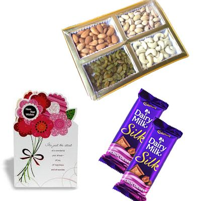 1/2 Kg Dry Fruits with 2 Cadbury Silk and Greeting Card
