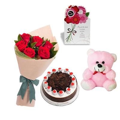 Teddy, Roses, Cake and Greeting Card