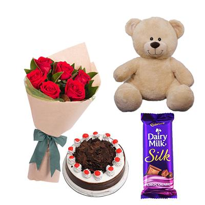 Teddy, Roses, Cake and Chocolate