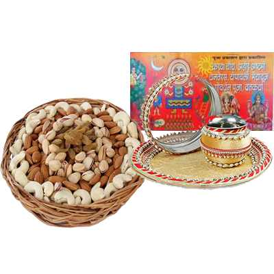 Karwa Chauth Pooja Thali with Mix Dry Fruit