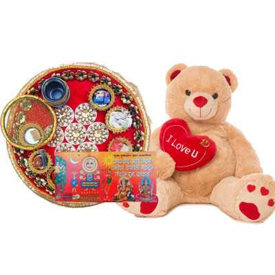 Karwa Chauth Thali with Teddy bear