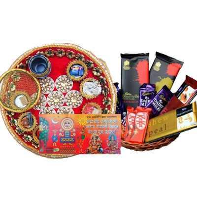 Pooja Thali with Indian Chocolate Basket