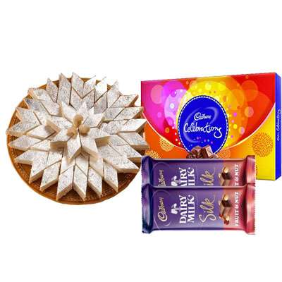 Kaju Katli with Cadbury Celebration & Silk