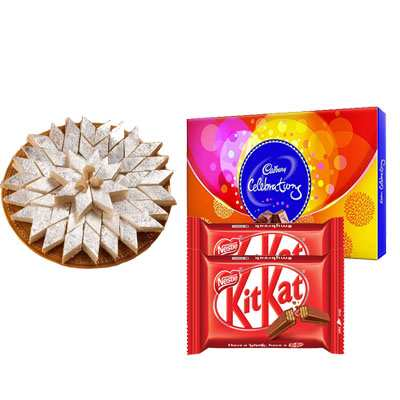 Kaju Katli with Cadbury Celebration & Kitkat