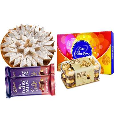 Kaju Katli with Cadbury Celebration, Ferrero Rocher & Silk