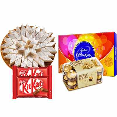 Kaju Katli with Cadbury Celebration, Ferrero Rocher & Kitkat