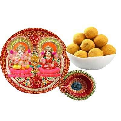 Diwali Pooja Thali with Ladoo Combo