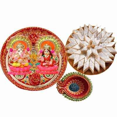 Diwali Pooja Thali with Kaju Katli Combo