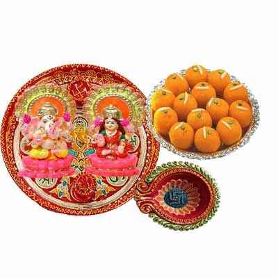 Diwali Pooja Thali with Motichoor Laddu