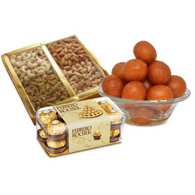 Mixed Dry Fruits with Gulab Jamun & Ferrero Rocher