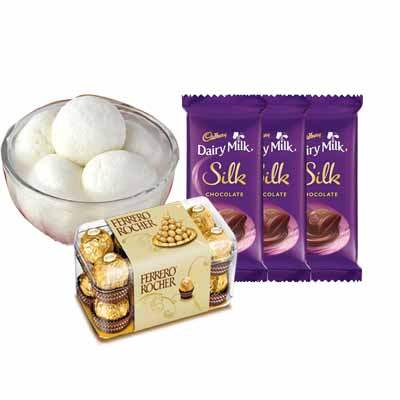 Rasgulla with Ferrero Rocher & Silk