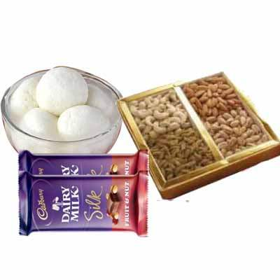 Rasgulla with Dry Fruits & Silk