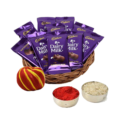Dairy Milk Basket with Roli Chawal & Moli