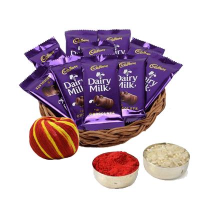 Dairy Milk Basket with Roli Chawal & Moli