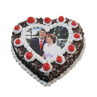 Heart Shape Black Forest Photo Cake