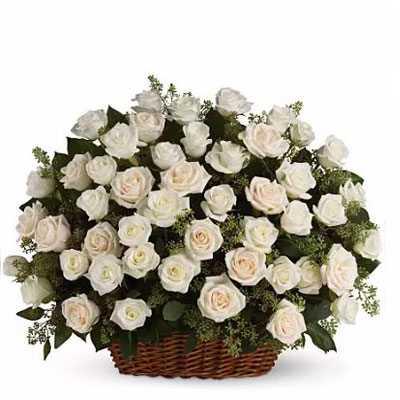 White Roses Big Basket