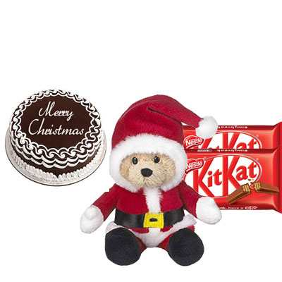 Christmas Cake with Santa Claus & Kitkat
