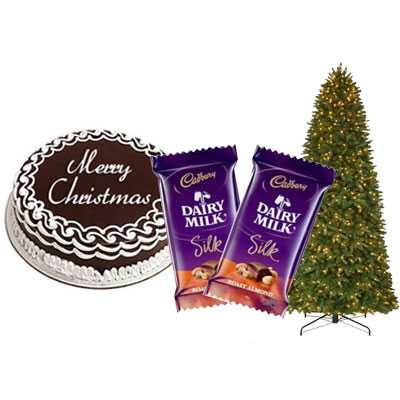 Christmas Chocolate Cake with Christmas Tree & Dairy Milk Silk