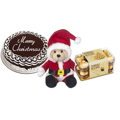 Christmas Chocolate Cake with Santa Claus & Ferrero rocher