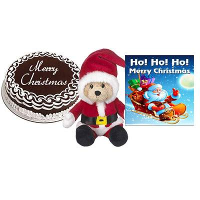 Christmas Chocolate Cake with Santa Claus & Greeting Card