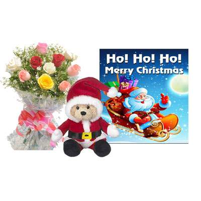 Santa Claus with Mix Roses Bouquet & Greeting Card
