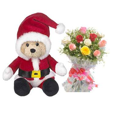 Santa Claus with Mix Roses Bouquet