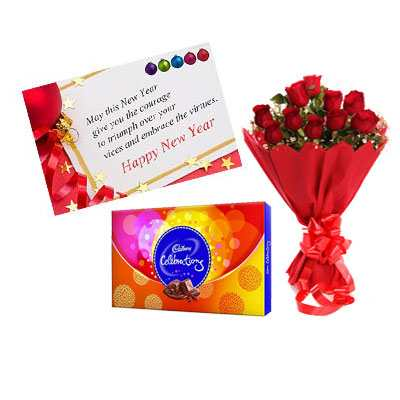 New Year Card, Red Roses & Cadbury Celebration