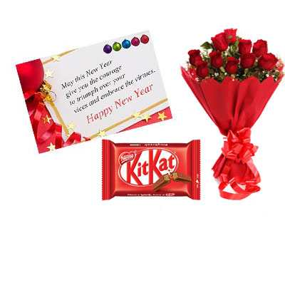 new year card red roses kitkat