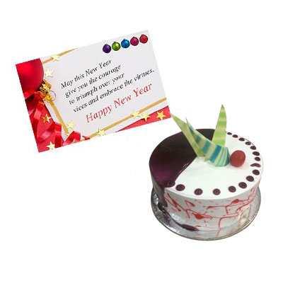 New Year Card with Choco Vanilla Cake