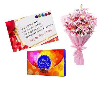 New Year Card with Lily & Cadbury Celebration