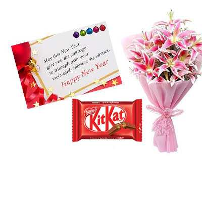 New Year Card with Lily Bouquet & Kitkat