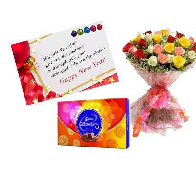 New Year Card with Mix Roses & Celebration