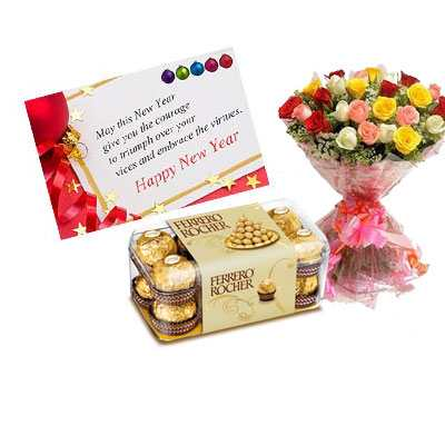 New Year Card with Mix Roses & Ferrero Rocher
